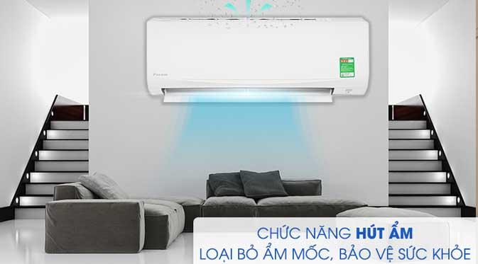 Giữ căn phòng luôn khô thoáng khi độ ẩm tăng cao với chức năng hút ẩm