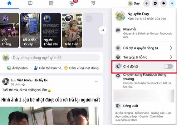 Cách bật chế độ tối trên Facebook điện thoại