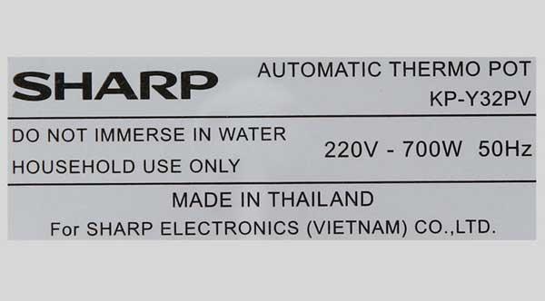 Bình thủy điện Sharp KP-Y32PV-CU 3 lít